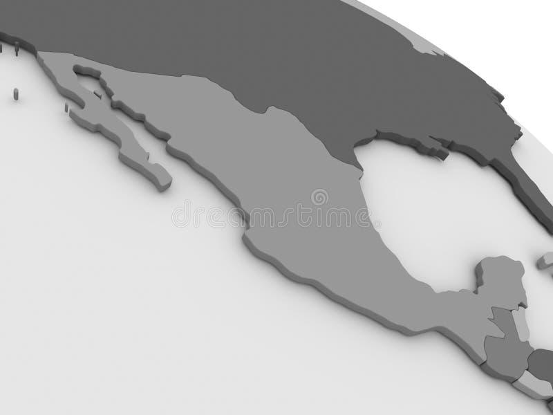 México en el mapa gris 3D stock de ilustración