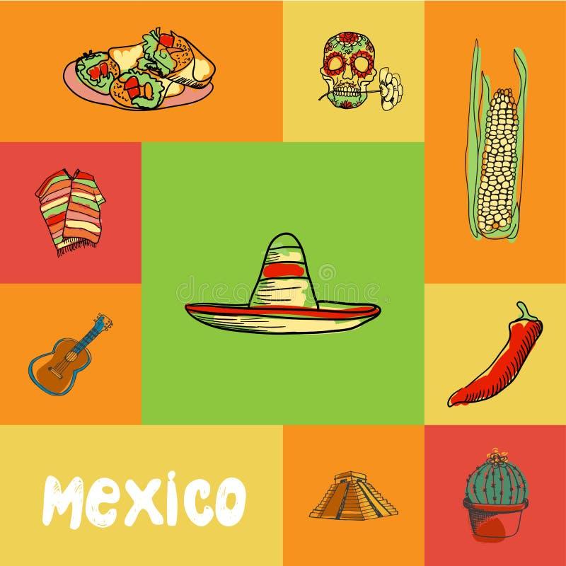 México esquadrou o conceito do vetor da garatuja ilustração stock