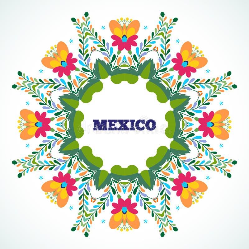 México floresce o ornamento Ilustração do vetor ilustração stock