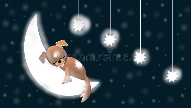 Même le ciel avec le chien doux 3D, la lune, les étoiles et le fond bleu et étoilé illustration stock