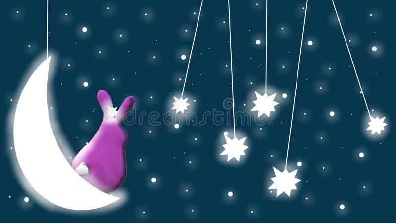 Même le ciel avec la lune, les étoiles, le lapin et le bleu, fond étoilé illustration libre de droits