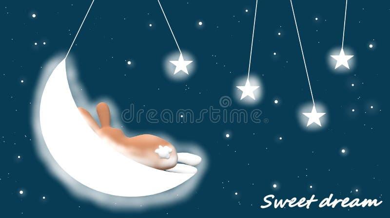 Même le fond pour des enfants, berceuse : étoiles, lune et un lapin illustration de vecteur