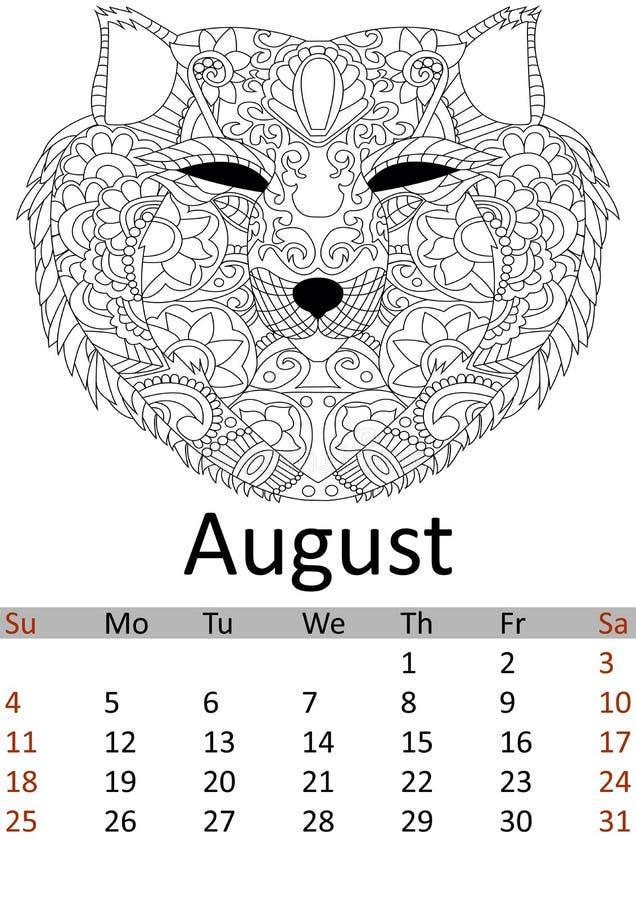 Mês august 2019 do calendário Cabeça colorindo Antistress da raposa, lobo Testes padrões animais selvagens Vetor ilustração do vetor