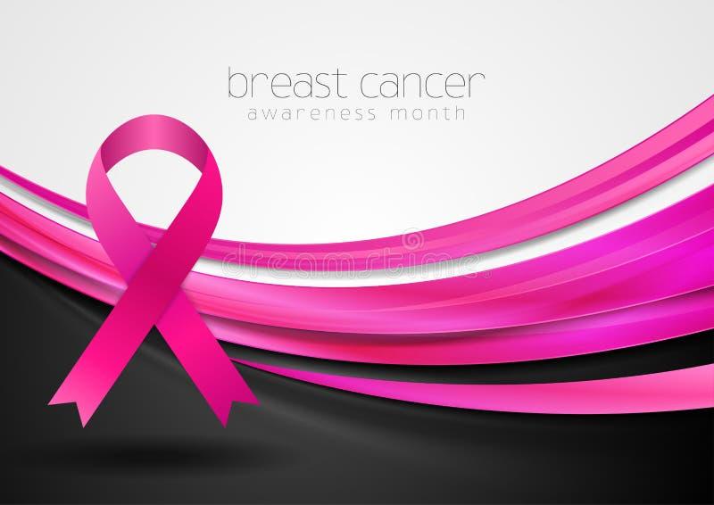 Mês da conscientização do câncer da mama A seda lisa acenam e o projeto da fita da fita ilustração stock