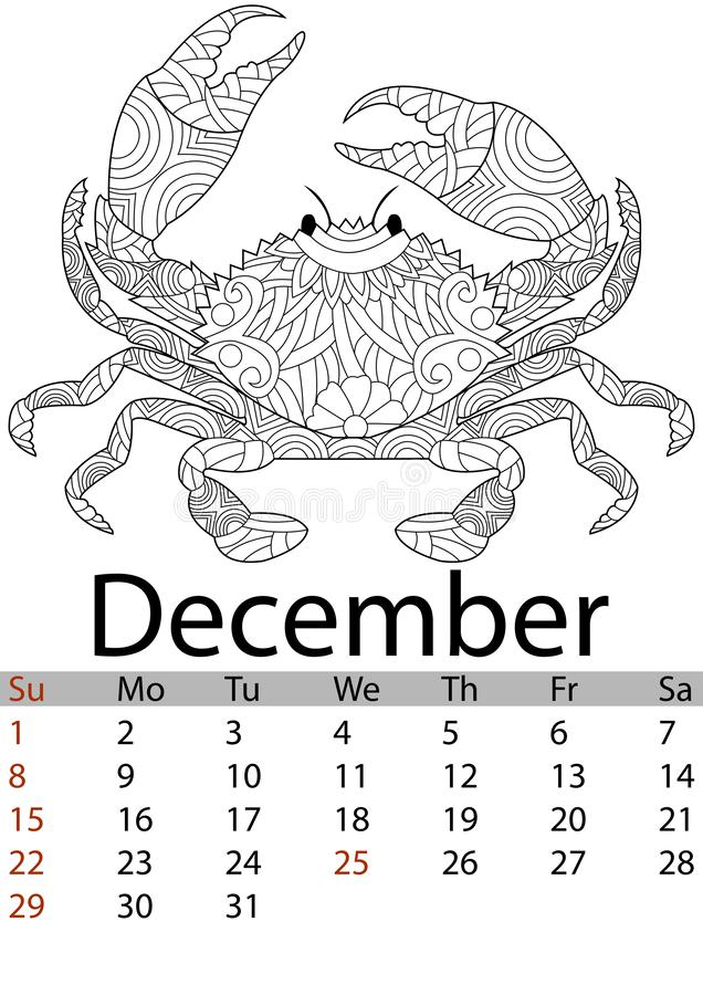 Mês 2019 de dezembro do calendário Caranguejo colorindo Antistress, mandala, testes padrões Crustáceo do fundo do mar Vetor ilustração do vetor
