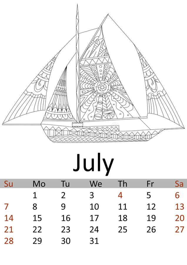 Mês 2019 de julho do calendário Transporte colorindo Antistress da água, navio dos piratas, testes padrões do veleiro Vetor ilustração do vetor