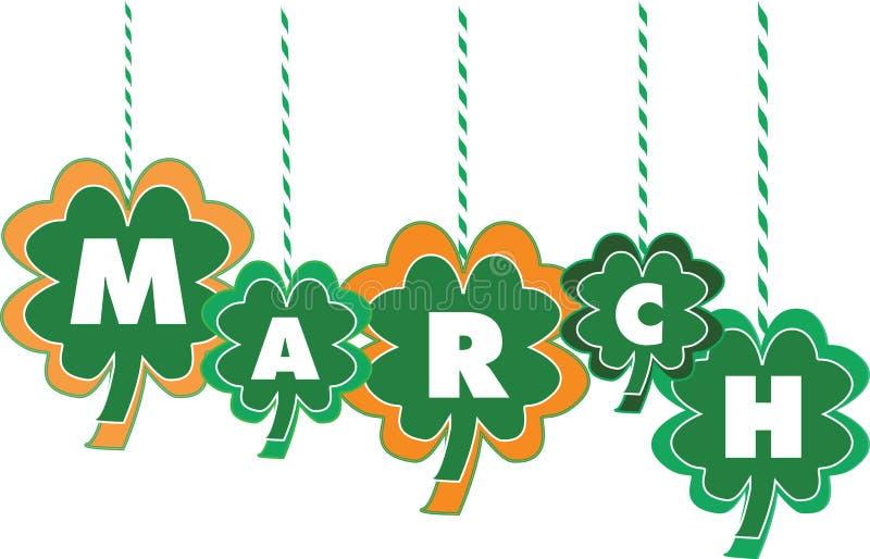 Mês do texto de março dentro dos trevos ilustração stock