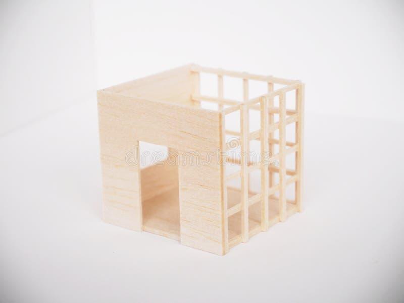 Mínimo hecho a mano del corte del arte modelo de madera miniatura de las ilustraciones fotografía de archivo libre de regalías