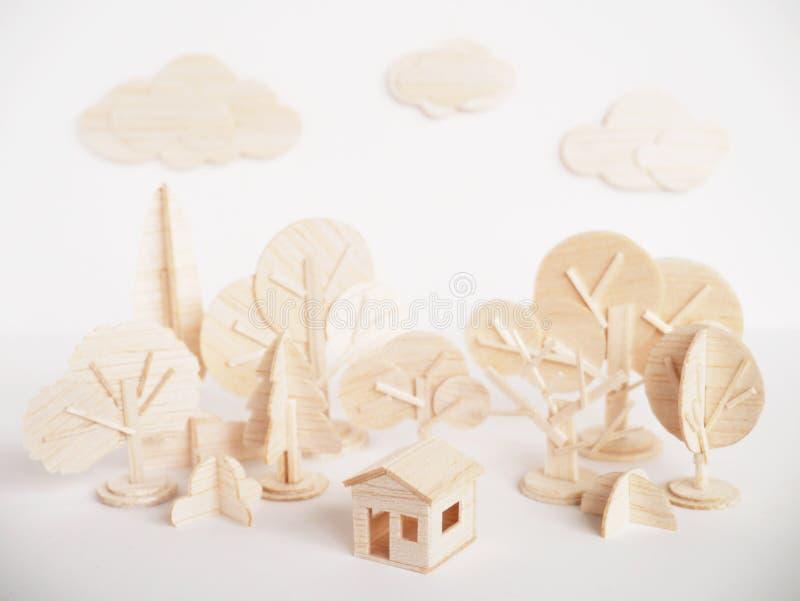 Mínimo hecho a mano del corte del arte modelo de madera miniatura de las ilustraciones fotos de archivo