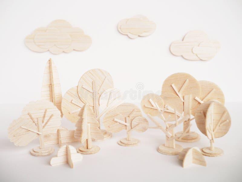 Mínimo hecho a mano del corte del arte modelo de madera miniatura de las ilustraciones imagen de archivo