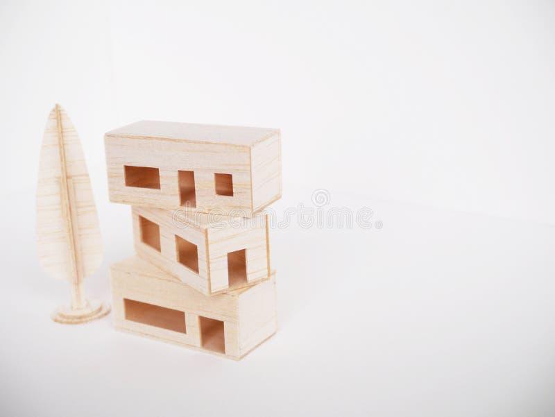 Mínimo hecho a mano del corte del arte modelo de madera miniatura de las ilustraciones fotografía de archivo