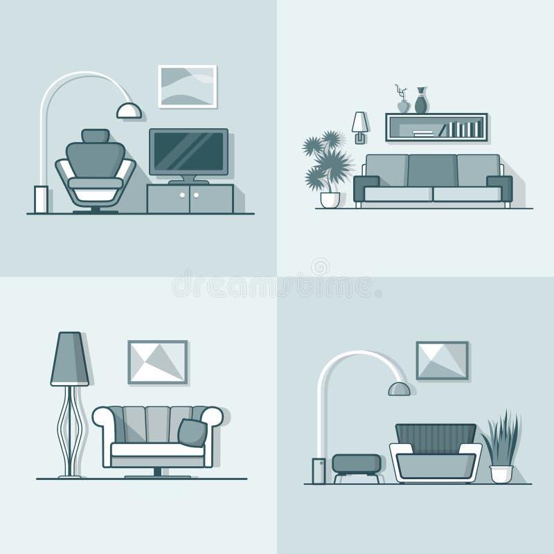 Mínimos modernos confortáveis da sala de visitas da acomodação do condomínio ilustração royalty free