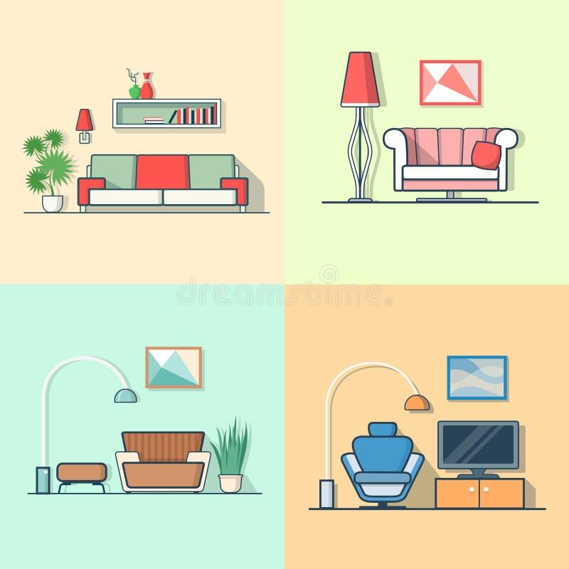 Mínimos modernos confortáveis da sala de visitas da acomodação do condomínio ilustração do vetor