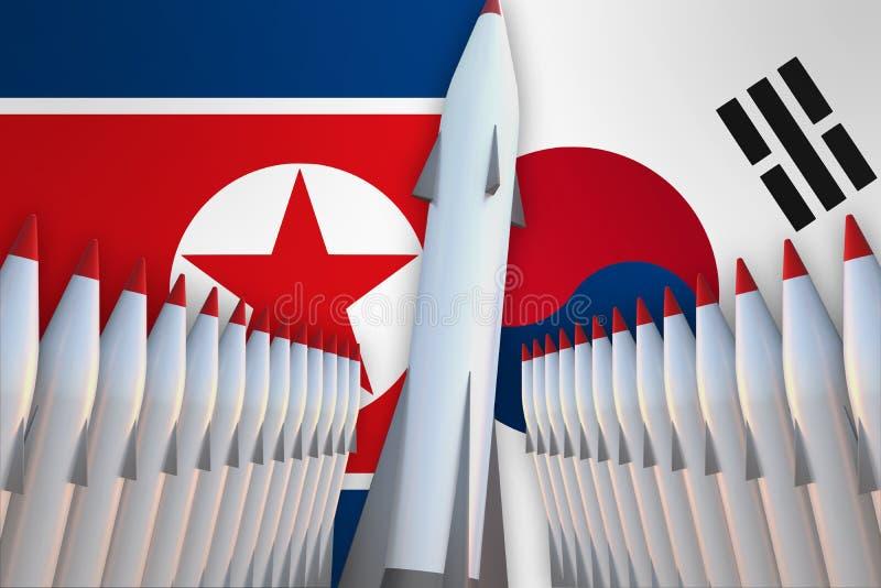 Mísseis da Coreia do Norte e Coreia do Sul em seguido e suas bandeiras ilustração do vetor