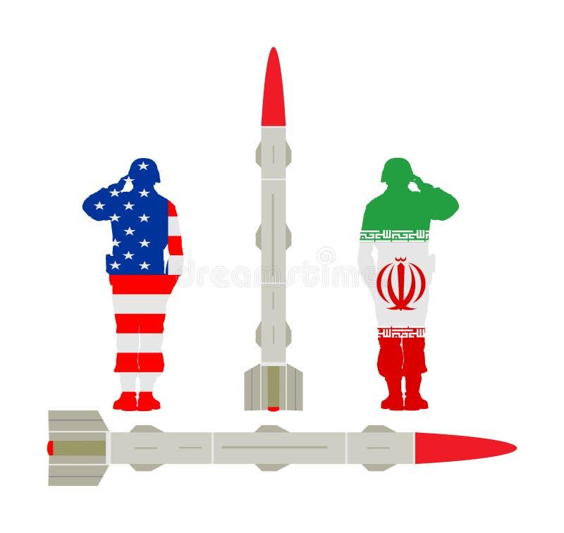 Míssil Rocket dos EUA com a bomba nuclear contra Irã potência nuclear Ameaça da guerra Arma poderosa do exército para a batalha A ilustração royalty free