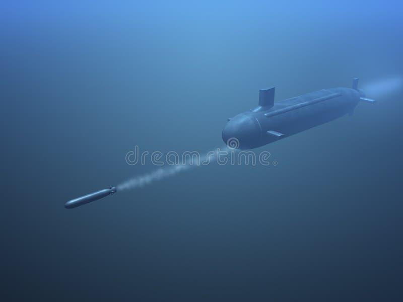 míssil submarino do tiro 3D ilustração do vetor