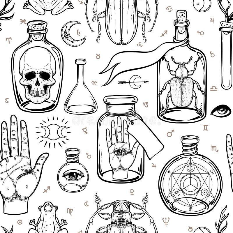 Místico, mágico, fundo Religião e o ocultismo com esote ilustração do vetor