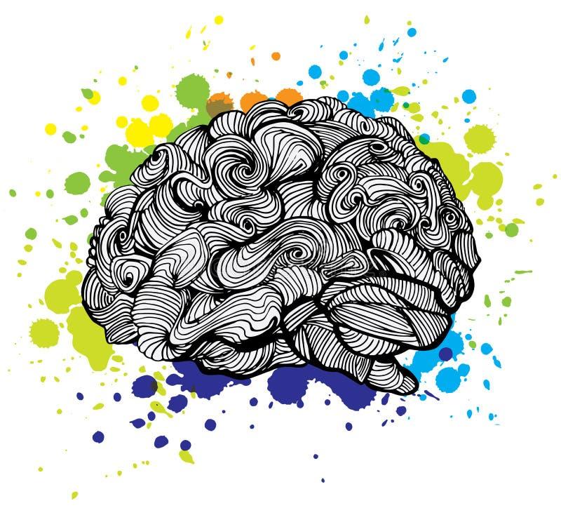 Móżdżkowa Jaskrawa pomysł ilustracja Doodle wektorowy pojęcie o ludzkim mózg i pomysłach Kreatywnie ilustracja royalty ilustracja