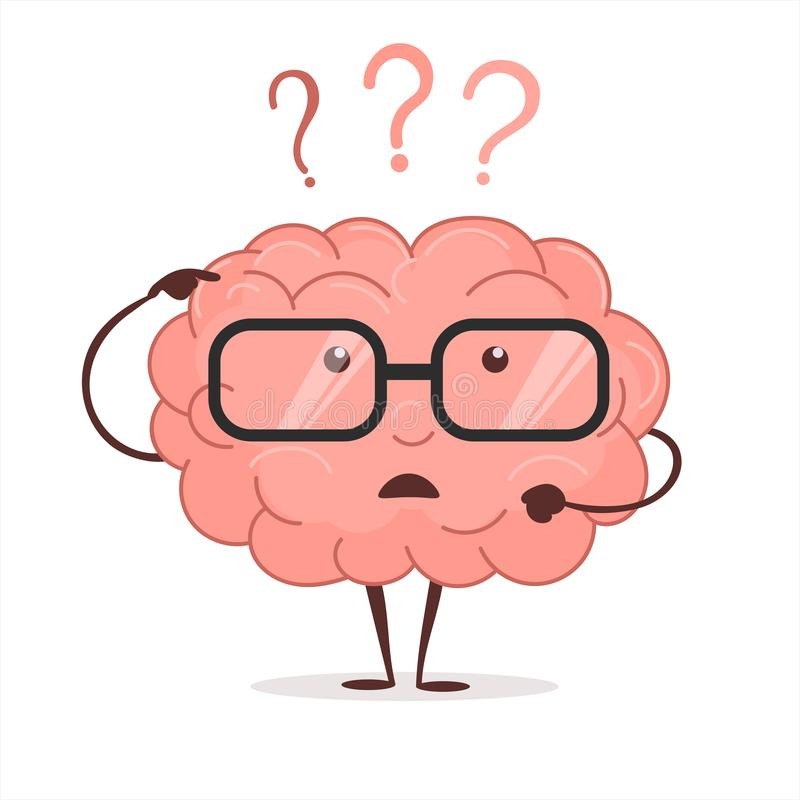Móżdżkowa kreskówka z pytaniami i szkła, ludzki intelekt myśleć, Brainstorming wektor royalty ilustracja