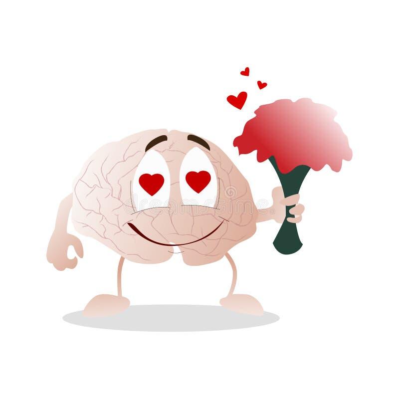 Móżdżkowa miłość, charakter z bukietów kwiatami royalty ilustracja