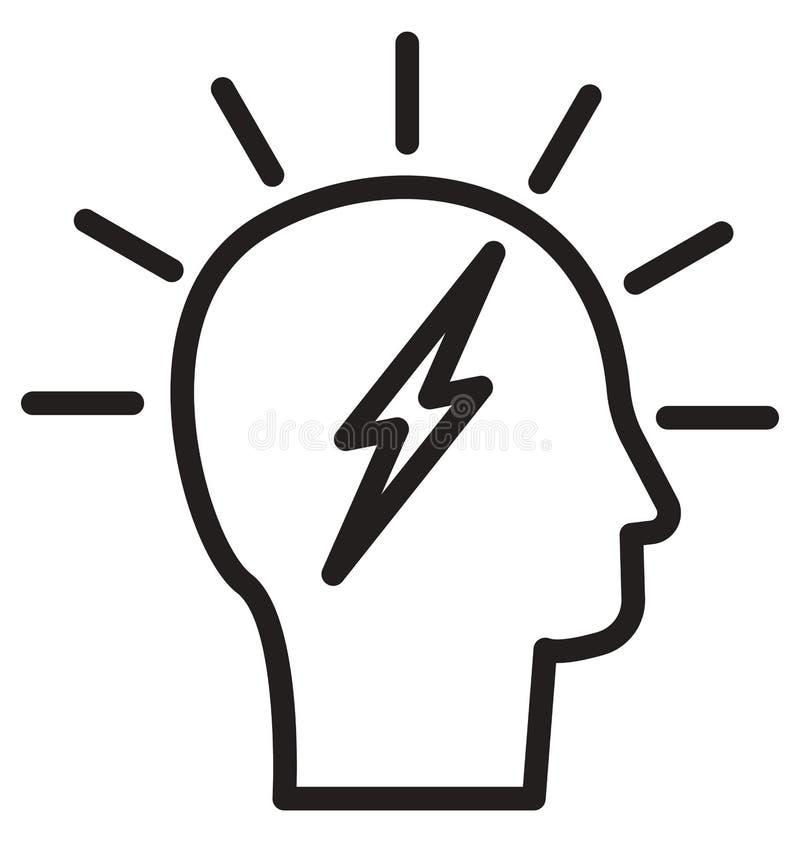Móżdżkowa władza, Brainstorming kreskową odosobnioną wektorową ikonę może łatwo redagować i modyfikująca ilustracji