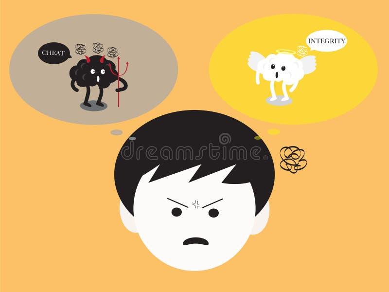Móżdżkowa zmieszana emoci inside głowa o dobroci i badness ilustracja wektor