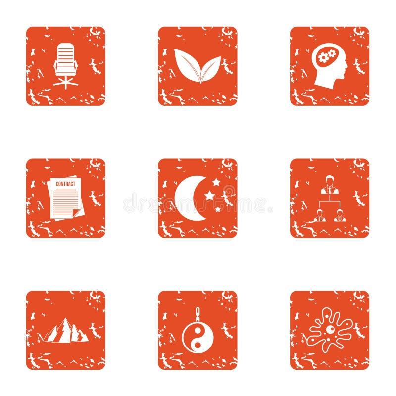 Móżdżkowe ikony ustawiać, grunge styl ilustracja wektor