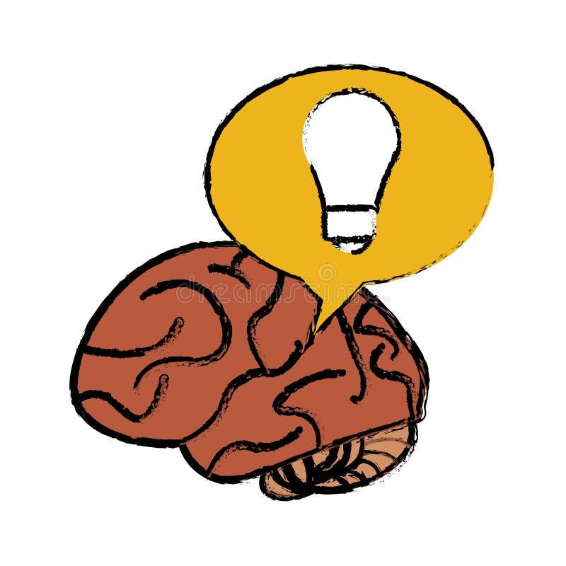 Móżdżkowego myślącego pomysłu bąbla żółty nakreślenie ilustracji