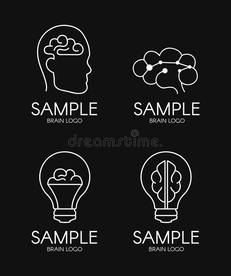 Móżdżkowego psychologia pomysłu loga projekta czerni kreatywnie tło royalty ilustracja