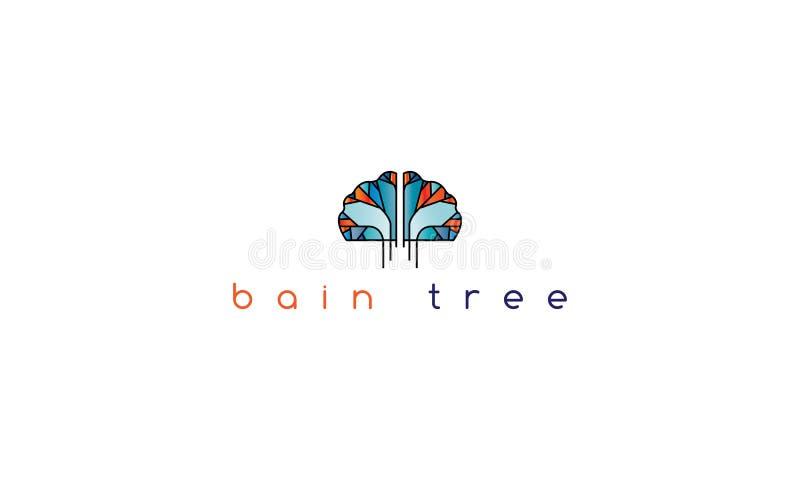 Móżdżkowy drzewny wektorowy loga wizerunek ilustracji