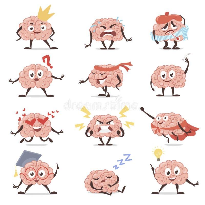 Móżdżkowy emocji kreskówki setu, edukacji i wiedzy symbol, ilustracji