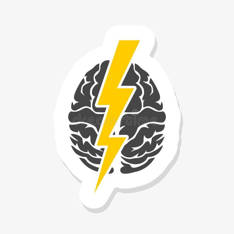 Móżdżkowy i błyskawicowy majcher Brainstorming twórczości inteligencja i myślący pojęcie ilustracji