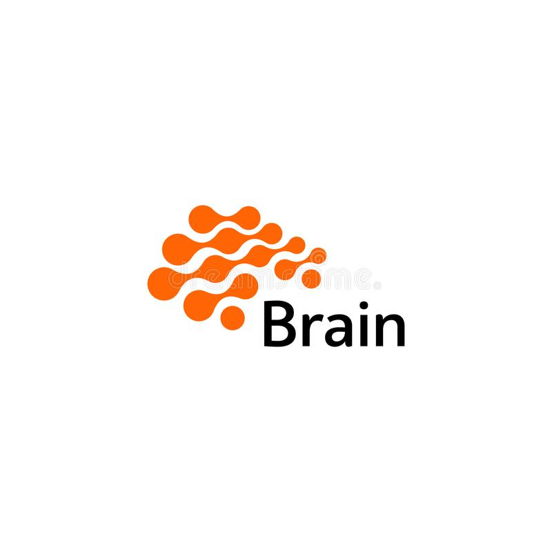 Móżdżkowy logo sylwetki projekta wektoru szablon Myśl pomysłu pojęcie Móżdżkowej burzy władzy logotypu myśląca ikona odosobniony royalty ilustracja