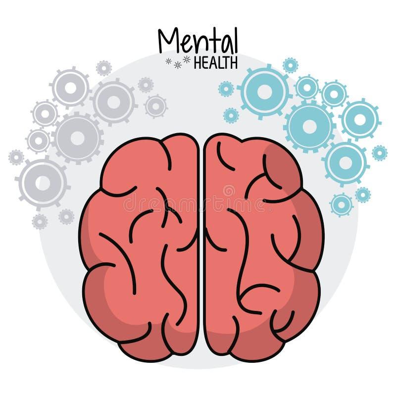 Móżdżkowy ludzki zdrowie psychiczne przygotowywa wizerunek ilustracja wektor
