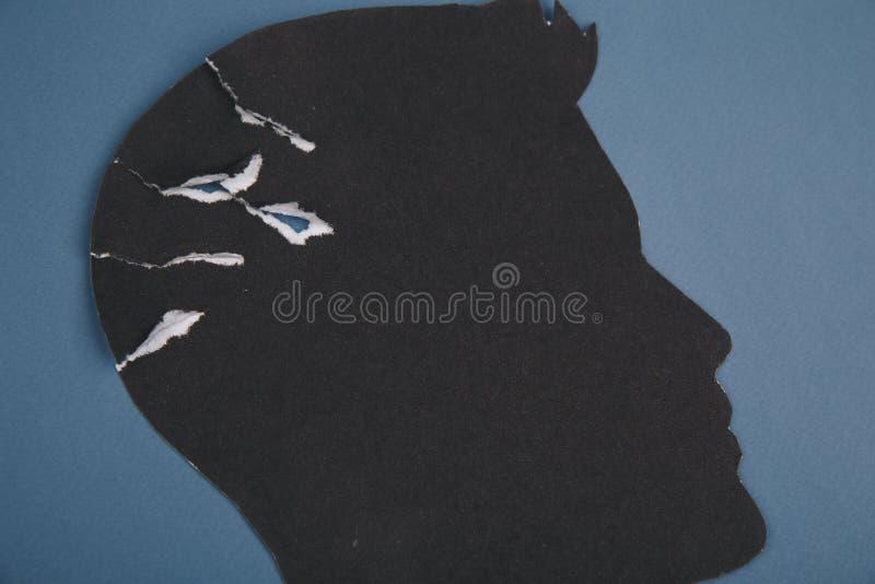 Móżdżkowy nieładu symbol przedstawiający ludzką głową zrobił formie tapetować Kreatywnie pomysł dla choroby alzhaimerej, demencja zdjęcia royalty free