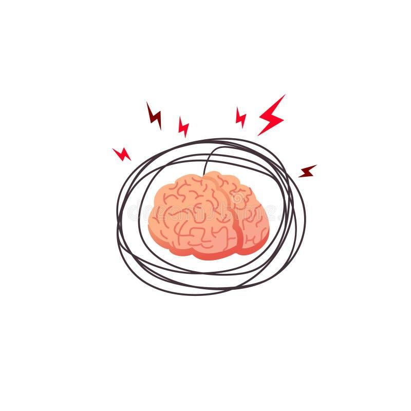 Móżdżkowy stres, gniewny pojęcie Stresuje się rozrzewniającego ludzkiego mózg, wewnętrzny organ stresujący się z outside czynnika royalty ilustracja