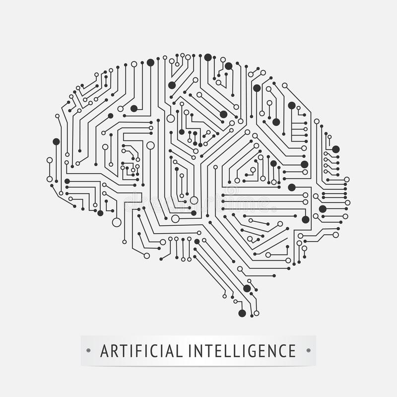 Móżdżkowy sztucznej inteligenci ikony projekt ilustracja wektor