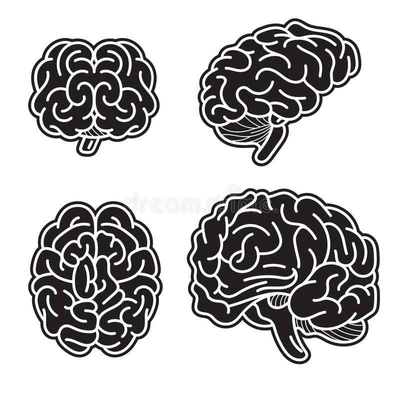 Móżdżkowy umysł ikony set, prosty styl ilustracji