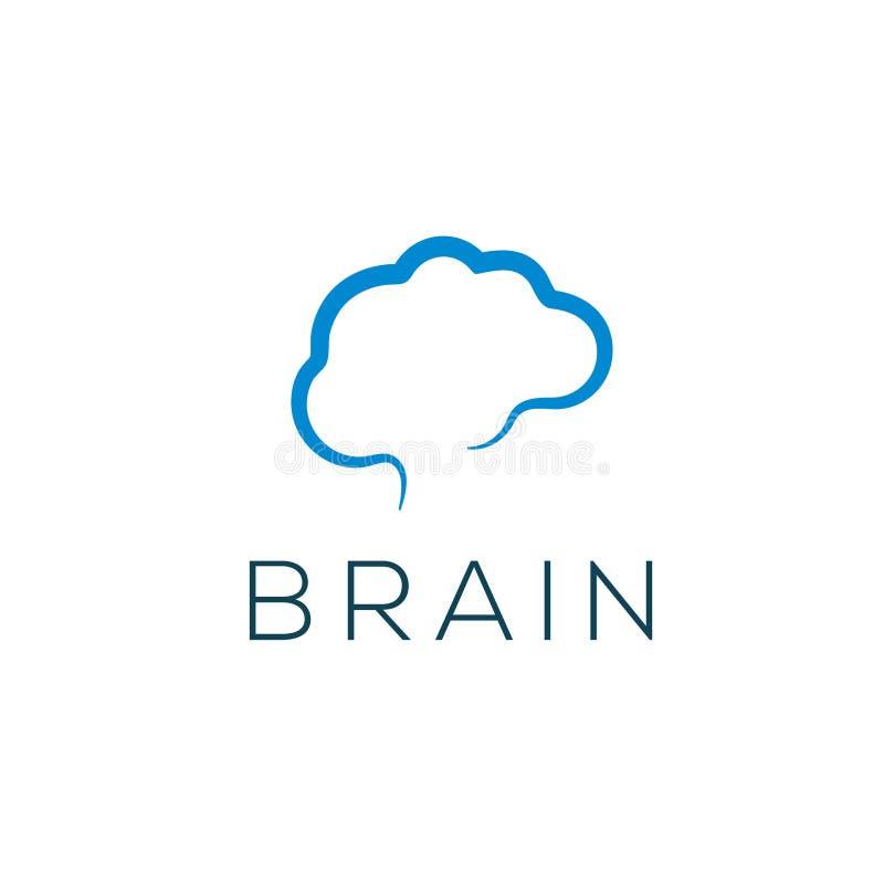 Móżdżkowy wektorowy logo Móżdżkowa ikona Brainstorming emblemat royalty ilustracja
