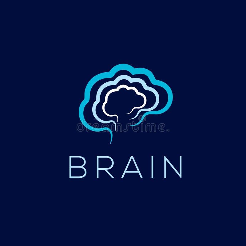 Móżdżkowy wektorowy logo Móżdżkowa ikona Brainstorming emblemat ilustracji