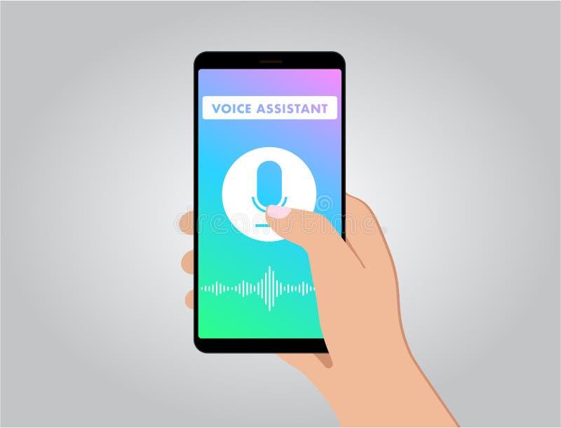 Móbil do assistente pessoal e do reconhecimento de voz ilustração do vetor