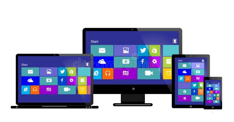 Móbil do tablet pc com janelas 8 ilustração royalty free