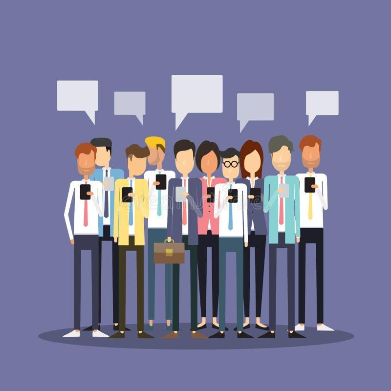 Móbil do uso da equipe do negócio dos povos do grupo ilustração stock