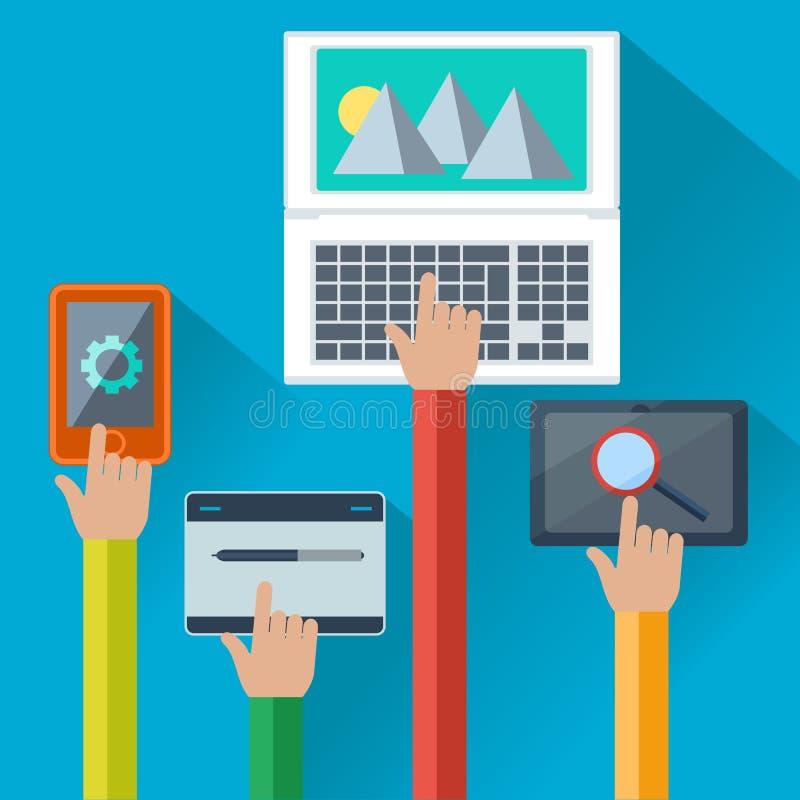 Móbil e conceito dos apps da Web para dispositivos digitais ilustração royalty free