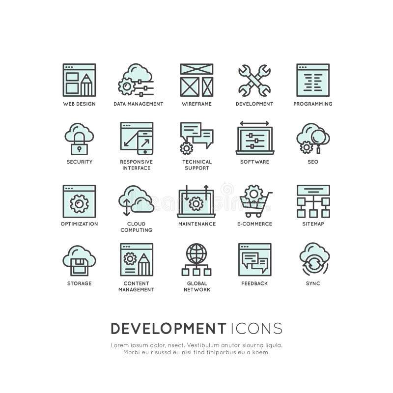 Móbil e ferramentas de desenvolvimento do App e processos, programando, processo de codificação ilustração royalty free