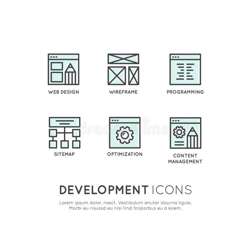 Móbil e ferramentas de desenvolvimento do App e processos, projeto e Seo, Wireframing ilustração stock