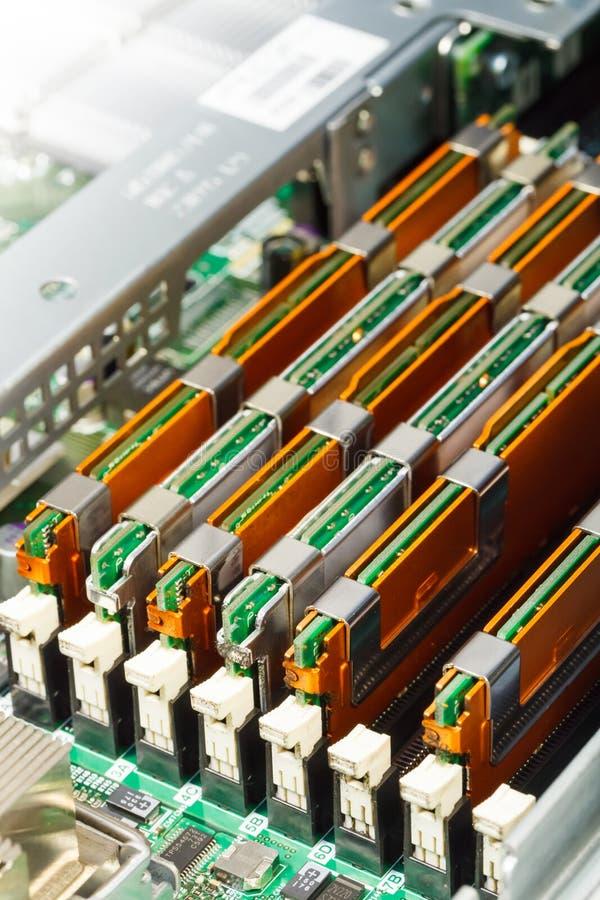 Módulo de la memoria en el cuadro de sistema, primer imagen de archivo libre de regalías