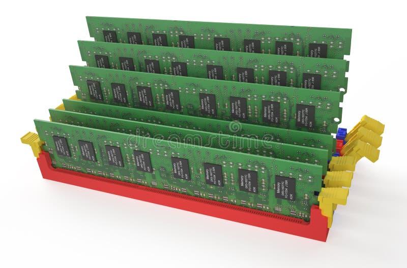Módulos 5 da memória DDR3 ilustração stock