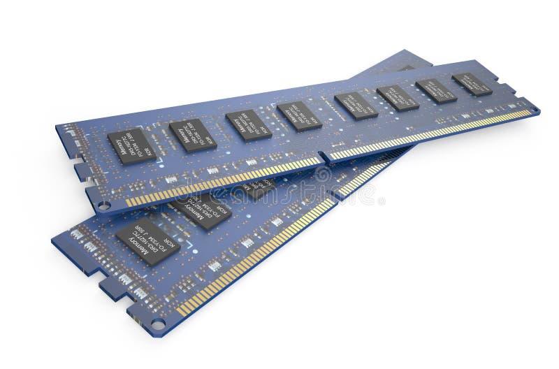 Módulos 3 da memória DDR3 ilustração stock