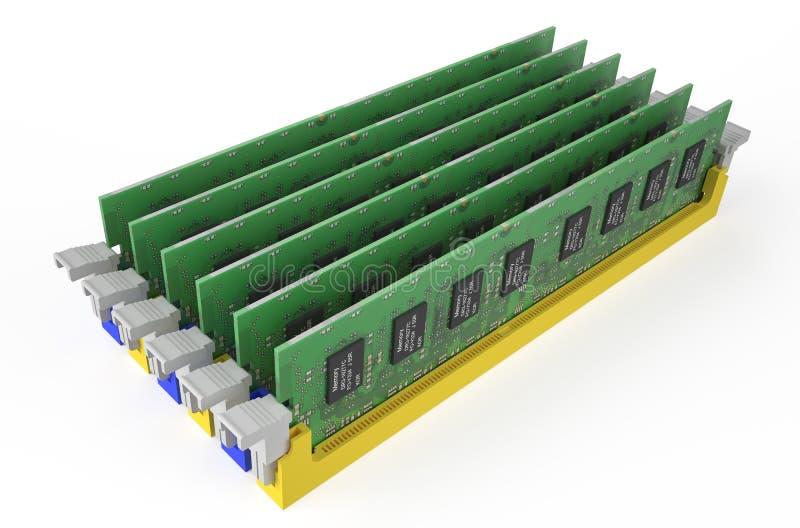 Módulos 4 da memória DDR3 ilustração stock